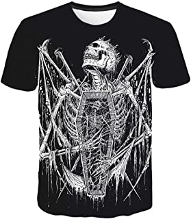 White 3D Skull Men T-shirt, Male Top Summer Tee Short Sleeve O-neck Hip Hop Hipster Harajuku Drop Ship (Color : Clear, Size : Asian size L)