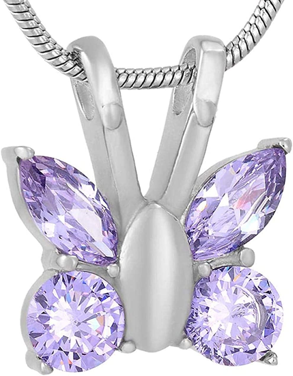 Memorial Cremation Cremation Jewellery Crystal Purple Butterfly Shape Fashion Memorial Jewelry Keepsake Urn Necklace Cremation Jewelry Ashes Urns Cremation Keepsake Memorial