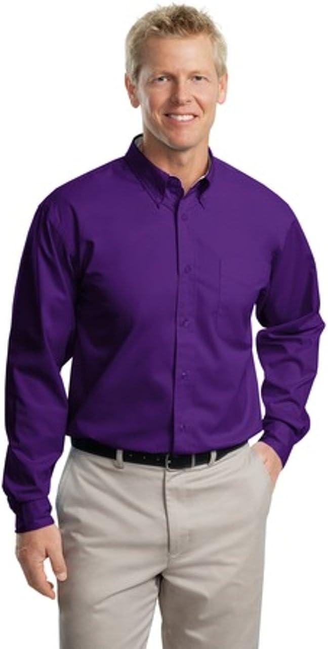Port Authority Tall LS Easy Care Shirt-XLT (Purple/Light Stone)