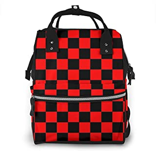 Black Red Checkered Multi-Function Travel Backpack Nappy Bag,Fashion Mummy Bag