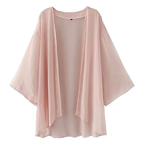 c89755bff0 Hsumonre Women's Solid Cover up Loose Chiffon Sheer Shawl Cardigan Kimono  Capes