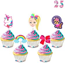 25 Pcs Jojo Cupcake Toppers Birthday Party Cake Decorations - Unicorn, Bow, Dog, Rainbow - Toppers