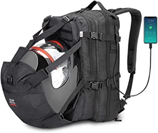 Helmet Backpack, 37L Motorcycle Backpack with USB-charge Port, Large Capacity Waterproof Helmet Holder Luggage Storage Bag Men for Riding Motorbike Outdoor