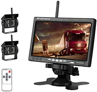 """EVERSECU 2pcs Wireless Vehicle Backup Cameras Plus 7"""" Monitor Parking Assistance System for RV/SUV/Van/Pickup/Truck/Traile..."""