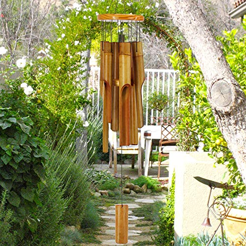 sinfinate Bamboo Wind Chimes Outdoor,Classic Handmade Wooden Music Wind Chimes Soothing Tone,Outdoor Yard,Home,Patio and Garden Décor