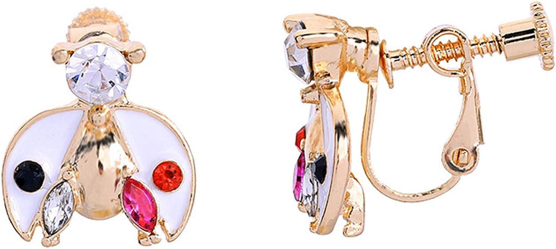 Ladybug Earrings Clip on non Pierced Miraculous Cubic Zirconia for Women Girls Kids Dangling Drop Red Crystal
