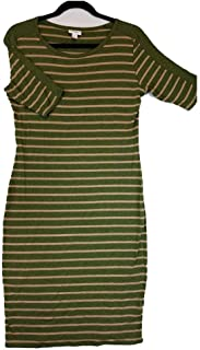 Julia Medium M Olive Green and Peach Stripe Form Fitting Dress fits Sizes 8-10
