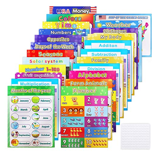 23 pcs Educational Preschool Posters for Toddlers and Kids, Laminated Learning Charts for Pre-K, Kindergarten Nursery Homeschool Classrooms, Teach Learning Alphabet Numbers and More - 16'x 12'