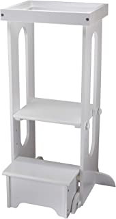 Little Partners Explore n Store Learning Tower Kids Adjustable Height Kitchen Step Stool for Toddlers or Any Little Helper (Soft White)