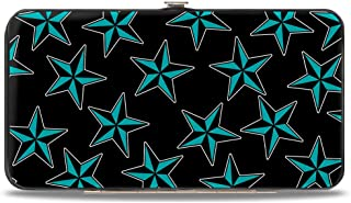 Hinge Wallet - Nautical Stars Scattered Black/Turquoise