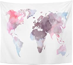 Emvency Tapestry Atlas Colorful World Map Watercolor Abstract Perfect Watercolour Africa Home Decor Wall Hanging for Living Room Bedroom Dorm 50x60 inches