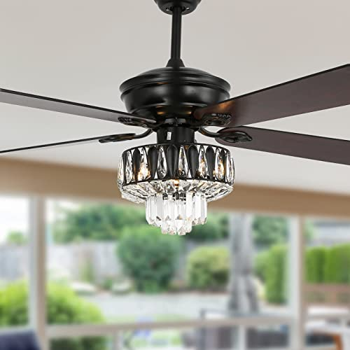 new arrival YYEHON 52 Inch Crystal Chanderlier Fan with Lights and Remote Control, Industrial Ceiling Fan with sale Dual Finish Reversible Blades, Fandelier for Living Room, Dining Room, Bedroom, Family online Room, Black online sale