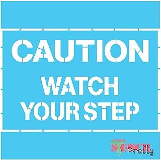 Standard Brilliant Blue Color Material Stencil - Caution Watch Your Step Warehouse & Shop Slip Template-L (19