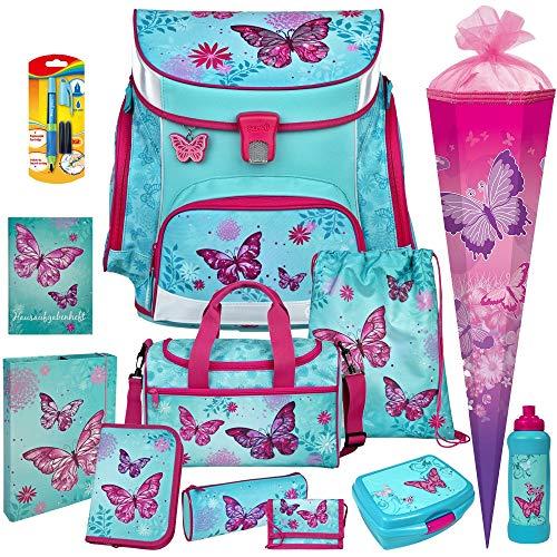 Butterfly - Schmetterling - SCOOLI Undercover Campus FIT PRO Schulranzen-Set 13tlg. mit Sporttasche, BROTDOSE, TRINKFLASCHE und SCHULTÜTE - SCHREIBLERNFÜLLER GRATIS DAZU!