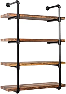 IRONCK Wall Shelf 4-Tier Pipe Shelf, Wood and Metal Frame,Industrial Shelving for Kitchen, Bedroom, Living Room,Home Decor Rustic Wall Decor