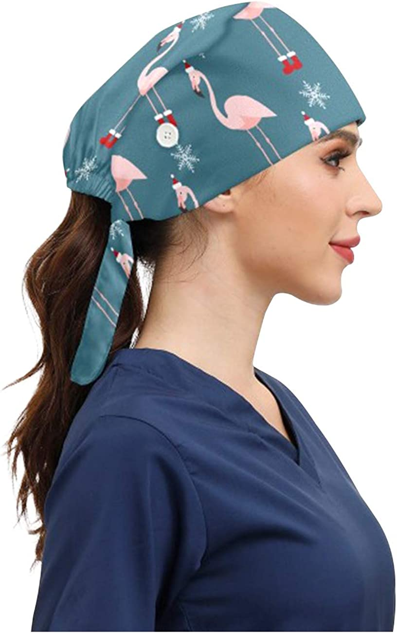 2Pcs Fashion Working Caps with Buttons Adjustable Sweatband Tie Back Working Hats for Women Men