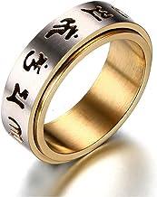 Gebed ring voor mannen roestvrij staal Tibetaans boeddhistische zes echte lettergreep mantraspinner ring