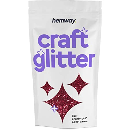 Hemway Craft Glitzerbeutel Für Kunsthandwerk Becher Schulen Papier Glas Dekorationen Heimwerkerprojekte 1 64 0 04mm Rotes Hologramm Küche Haushalt