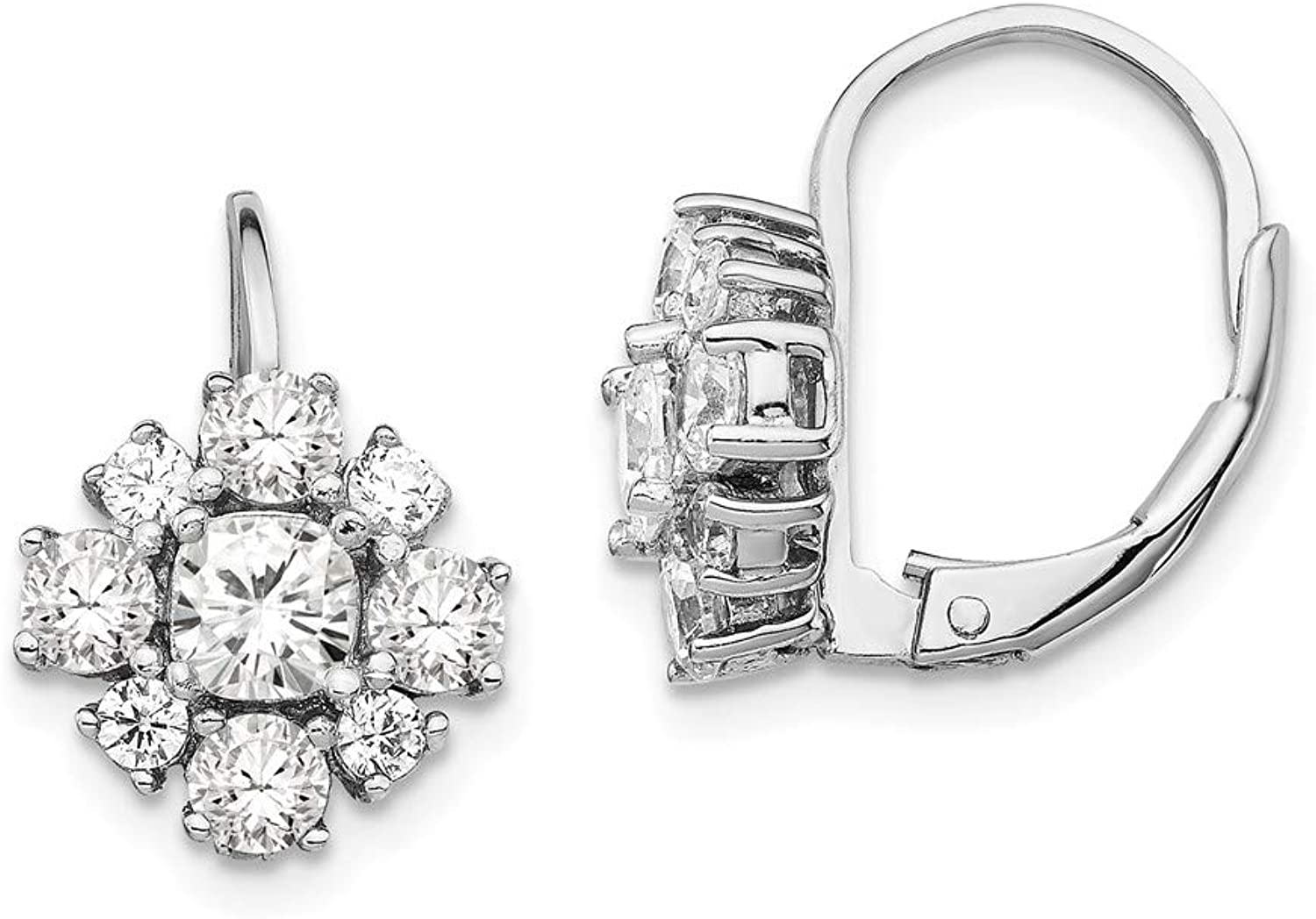 Beautiful Sterling silver 925 sterling Cheryl M Sterling Silver Rhodium Plated Fancy CZ Leverback Earrings