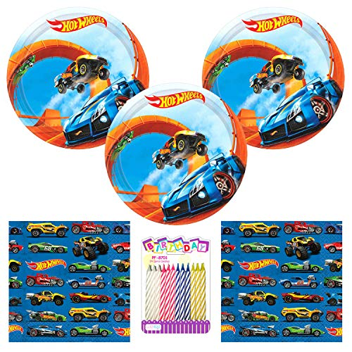 Hot Wheels Wild Racer Party Supplies Pack Serves 16: Dessert Plates and Beverage Napkins wih Birthday Candles (Bundle for 16)