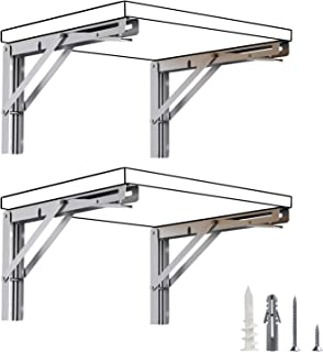 LuckIn Folding Shelf Brackets 12 Inch, Heavy Duty Stainless Steel Folding Table Bracket, Wall Mounted Folding Shelf Bracket, Space Saving Fold Down Bracket 4 Pack