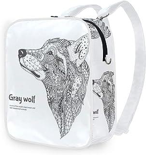 DEZIRO - Mochila de hombro, diseño de lobo, color gris