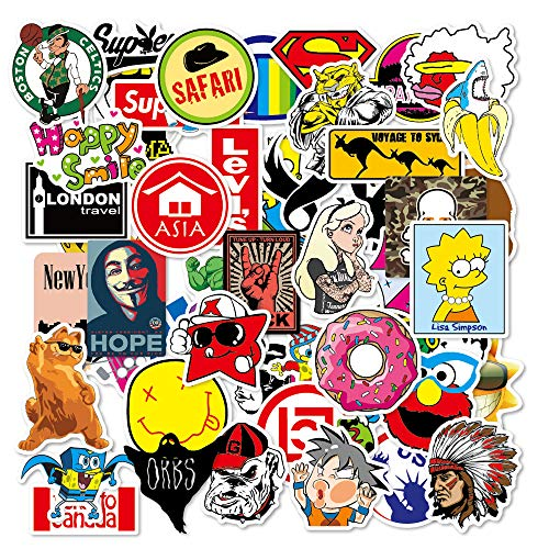 Fashion Brand 100 pcs/Pack Stickers Variety Vinyl Cool Sticker Motorcycle Bicycle Luggage Decal Graffiti Patches Skateboard Stickers for Laptop Stickers for Kid and Adult