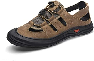 Fashion Sport Sandals for Men PU Leather Summer Outdoor Activities Hiking Climbing Anti-Slip Flat Lace Up Collision Avoidance Round Toe Sandals Men's Boots (Color : Khaki, Size : 6.5 UK)