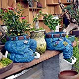 Denim Kleidung Hosen Harz Blumentopf Statue Retro Garten Ornament Gartendeko Blumentöpfe, Topf für Blumen und Pflanzen, Jeans Blume Harz Pflanzkübel dekorativer Topf für Garten Terrasse (A+B)