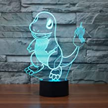 3D Illusion LED Night Light,7 Colors Gradual Changing Touch Switch USB Table Lamp for Holiday Gifts or Home Decorations (Fire Dragon)
