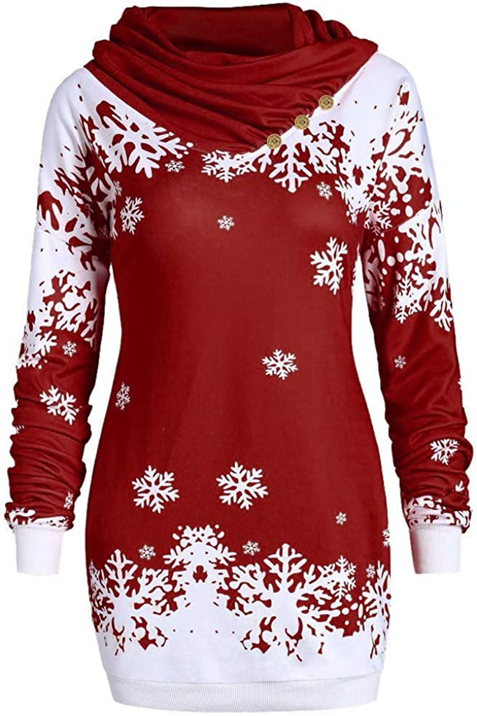 NEARTIME Womens Tops Fashion Christmas Sweatshirt Snowflake Print Long Sleeve Pullover Blouse Shirts