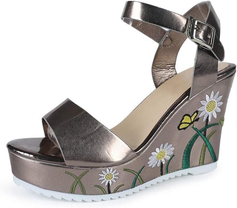JOYBI Women Wedge Platform Sandals Embroidery Non Slip Summer Buckle Strap Party Open Toe Dress Sandal shoes