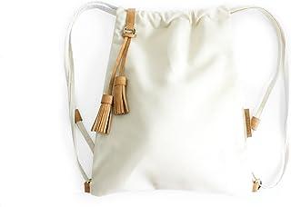 Vale BACKPACK, zaino zainetto canvas e cuoio, tela idrorepellente e cuoio italiano, beige. Personalizzata con le tue iniziali
