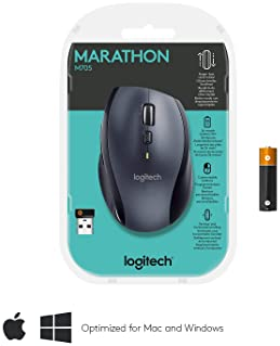 Logitech M705 Marathon Wireless Mouse – Long 3 Year Battery Life, Ergonomic Sculpted Right-Hand Shape, Hyper-Fast Scr...