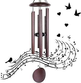 VIITION Large Wind Chimes Outdoor Deep Tone, 36 Inch Sympathy Wind Chimes Amazing Grace with 6 Big Tubes - Best Metal Musical Windchime Outdoor and Home Decoration, Copper Vein