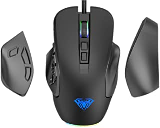 AULA H510 MOBA/MMO/FPS Gaming Mouse Wired, with 9 Side Buttons Programmable, RGB Rainbow Backlit, High Precision 10,000 DP...