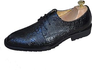 [ブウケ] ビジネスシューズ メンズ 紳士靴 ポインテッドトゥ 革靴 ゴム ドレスシューズ 靴 シークレット 高級レザー 外羽根 ストレートチップ