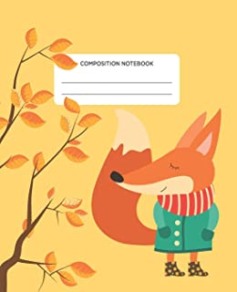 Composition Notebook: Autumn Fox School Exercise Journal with Wide Ruled Paper -For Middle, Elementary, High School and Co...