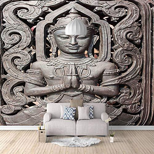 Papel Pintado Fotográfico 3D Majestuosa Estatua De Buda No-Trenzado Salón Dormitorio Despacho Pasillo Decoración Murales Decoración De Paredes Moderna - 200 X 150 Cm