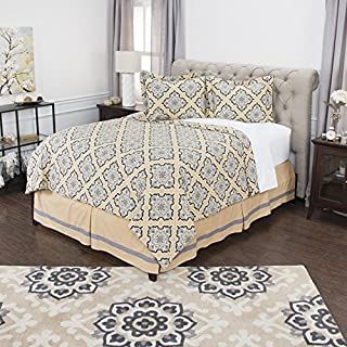 Rizzy Home Andrew Charles Collection 3 Piece Cotton Comforter Geometric Bedding Set, King, Gold/Grey