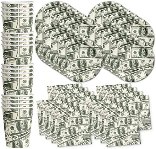 Money 100 Dollar Bills Birthday Party Supplies Set Plates Napkins Cups Tableware Kit for 16 product image