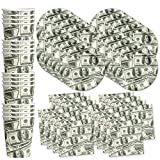 Money $100 Dollar Bills Birthday Party Supplies Set Plates Napkins Cups Tableware Kit for 16