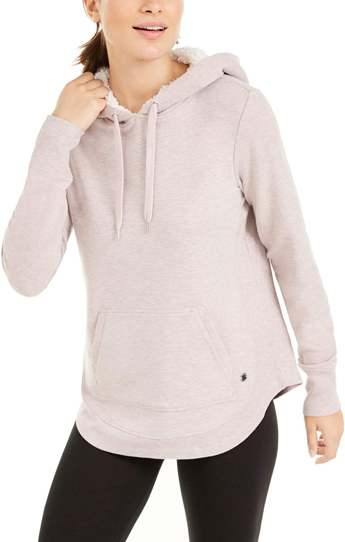Ideology Women's Sherpa Round-Hem Hoodie (Shimmer Pink, XL)