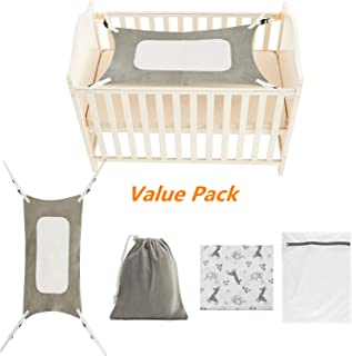 Clearance Sale Baby Hammock for Crib + Cotton Muslin Swaddle Blanket, Mimics Womb, Double-Layer Breathable Supportive Mesh, Safe Metal Buckle Hammocks Bed for Newborn Bassinet Hammock (Grey)