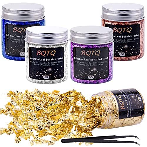 BQTQ 5 Cajas Copos de Oro Hojuelas de Pan de Oro 5 Colores Láminas Oro con 1 Pieza Pinza para Arte Manualidades Decoración Uñas, 3g/Cajas