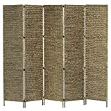 vidaXL Biombo Separador 5 Paneles Plegable Divisor Ambientes Decorativo Metal Jacinto...