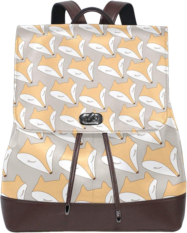 Women PU Leather Fashion Backpack Purse Fox Head Travel School Shoulder Bag Girls Ladies Daypack Handbags