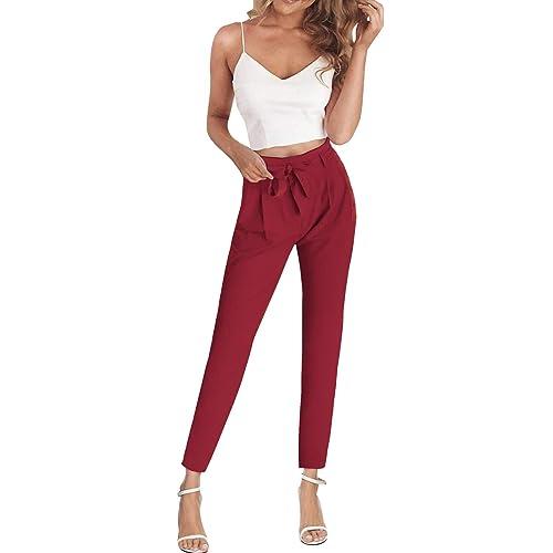 Coolred-Women Slim Cross Belted Long Sleeve 2-Piece Pants Tops