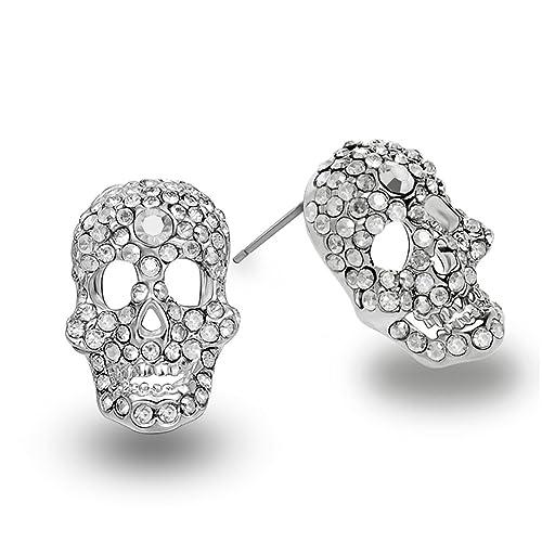 322780b87 Skull Earrings CZ Stud Earrings Silver Diomand Crystal Skull Earrings for  Womens