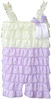 e8e492babb6 Zcaynger Baby Girls Clothes Lace Romper Spaghetti Ruffle Tiered Jumpsuit